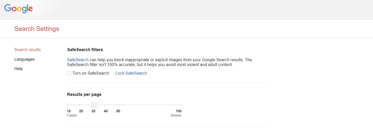 Google Search Results per Page