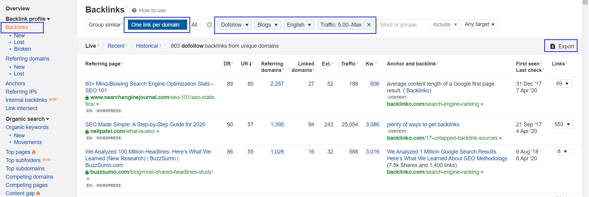 Ahrefs Backlink Explorer